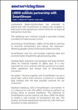 LBBW extends partnership with SmartStream
