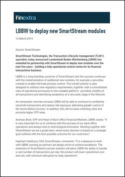 LBBW to deploy new SmartStream modules