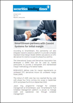 SmartStream partners with Cassini Systems for initial margin