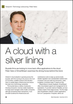 Peter Hainz of SmartStream examines the driving forces behind the trend moving back office applications to the cloud