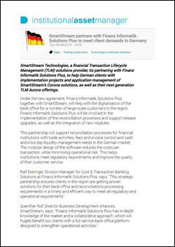 SmartStream partners with Finanz Informatik Solutions Plus to meet client demands in Germany