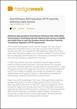 SmartStream RDU launches SFTR security reference data service