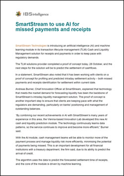 SmartStream to use AI for missed payments and receipts
