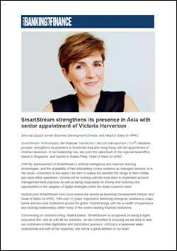 SmartStream strengthens its presence in Asia with senior appointment of Victoria Harverson