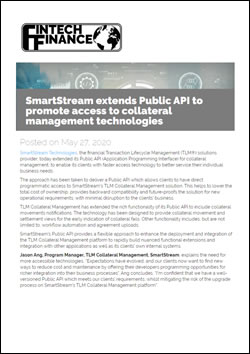 SmartStream extends Public API to promote access to collateral management technologies