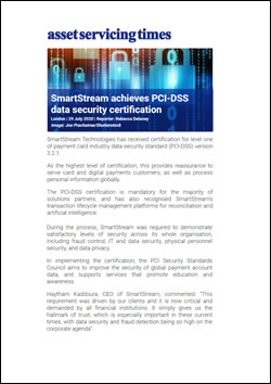 SmartStream achieves PCI-DSS data security certification