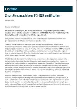 SmartStream achieves PCI-DSS certification